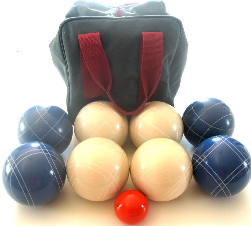 Premium Quality EPCO Tournament Set - 110mm Blue and White Bocce Balls with high quality nylon