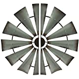 Metal Wall Sculptures 2 Piece Distressed Silver Rustic Windmill Half Metal Wall Hanging Set 32 Inch 32 X 16 X 0.13 Inches Gray Model # 22157