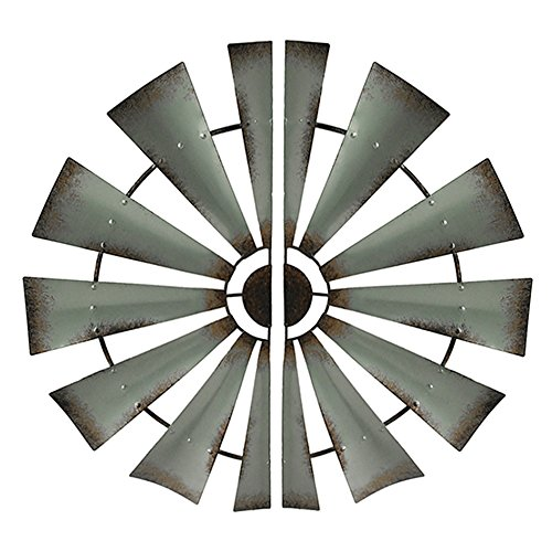 Metal Wall Sculptures 2 Piece Distressed Silver Rustic Windmill Half Metal Wall Hanging Set 32 Inch 32 X 16 X 0.13 Inches Gray (Wall 2 Windmill 1 Decor)