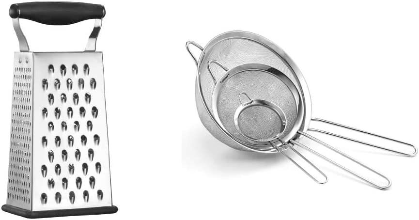 Cuisinart Boxed Grater, Black, One Size & Set of 3 Fine Mesh Stainless Steel Strainers
