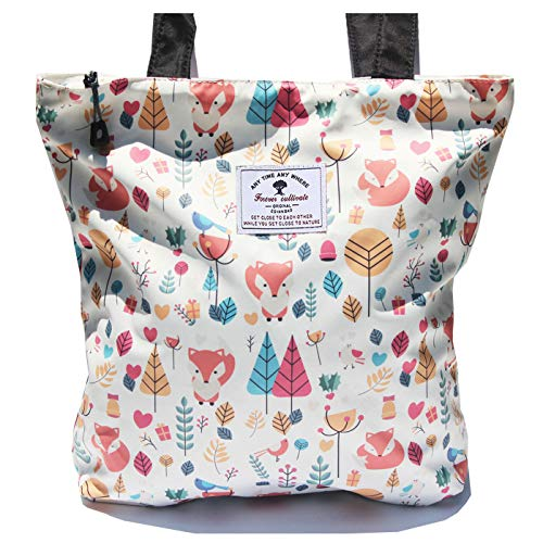 Waterproof Tote Bag,Original Floral Leaf Lightweight Fashion Shoulder Bag Lunch Bag for Shopping Yoga Gym Hiking Swimming Travel Beach ([W] Fox) -