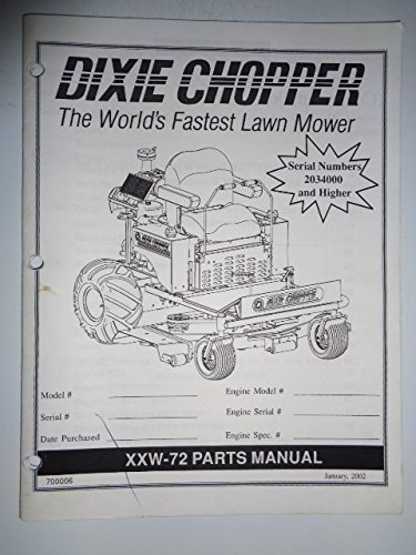 Dixie Chopper XXW-72 Front Mower Parts Manual Catalog 700006