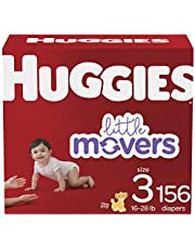 Diapers Size 3 - Huggies Little Movers Disposable Baby Diapers, 156ct, One Month Supply