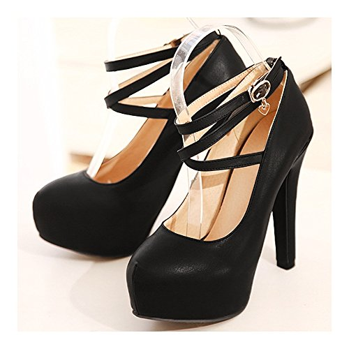 37 Shoes Buckle Women Night Sexy Thin Club black Fashionable PU FFzgTwqAnW