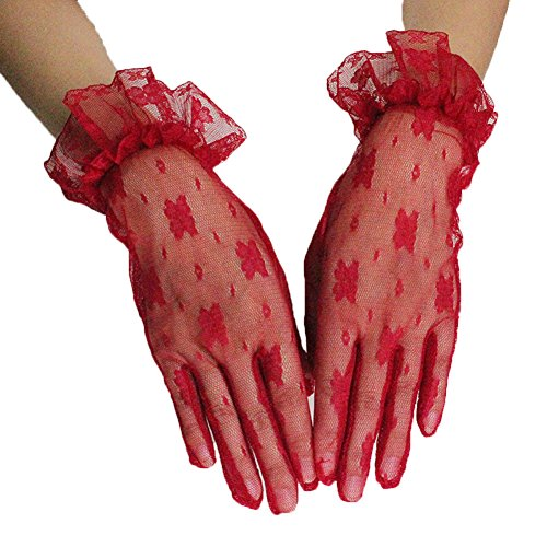 Floral Lace Gloves - PearlBridal Women's Vintage Short Floral Lace Wedding Gloves 2018 Lace Finger Prom Gloves Red