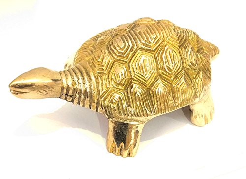 athizay Tortoise Statue | Brass Turtle Gold Finish Home Decorative Showpiece Indian Statues and Figurines