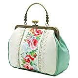 vintage bags - Miss Cat Tote Bag Shoulder Bag Crossbody Bag Evening Bag for Women PU Fabric Rose Floral Print Purse Vintage Top Handle Kiss Lock Bag