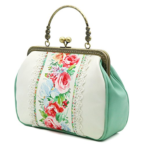 Miss Cat Tote Bag Shoulder Bag Crossbody Bag Evening Bag for Women PU Fabric Rose Floral Print Purse Vintage Top Handle Kiss Lock Bag
