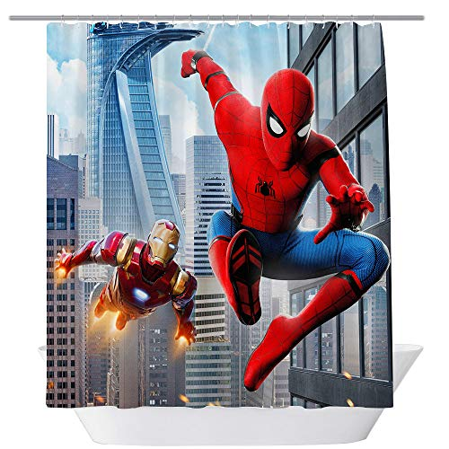 (GOODCARE Spiderman and Ironman Shower Curtain Cartoon for Kids Children, Polyester Fabric Bathroom Shower Curtain Including 12 Free Hooks,71x71 Inch, Red Blue)