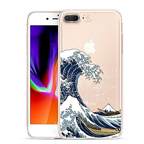 Unov Compatible Case Clear with Design Embossed Pattern TPU Soft Bumper Shock Absorption Slim Protective Cover for iPhone 7 Plus iPhone 8 Plus 5.5 Inch(Great Wave) ()