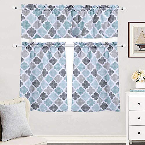 (3 Pieces Kitchen Curtains Set, Trellis Pattern Cotton Blend Tier Curtains and Valance Set for Cafe Bathroom, Geometric Rod Pocket Tailored Kitchen Window Curtain Set, Gray/Aqua (24 Inch Tiers) )