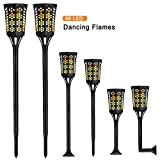Solar Torch Lights 96 LED Flickering Flame Solar Lights Outdoor Decoration Lighting with Auto On/Off Dusk Warm Lamp for Deck Wall Step Yard Fence Patio Garden Driveway(2 Pack)