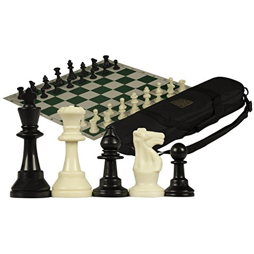 Staunton Tournament Chess Set with Weighted Chessmen, Bag, and Roll-Up Vinyl Board w/ Green & Natural Squares