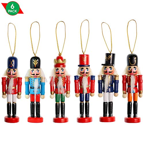 Ornativity Nutcrackers Hanging Ornament Figures - Christmas Mini Wooden King and Soldier Nutcracker (Christmas Nutcracker Soldiers For)