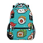 U LIFE Backpack School Bags Laptop Casual Bag for Boys Girls Kids Men Women Cute Japanese Sushi Emoji