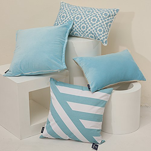 Aitliving Decorative Pillow Covers 20x20 inches Soft Velvet Cotton Cushion Pillow Cover Sky Blue Classy Looking Handmadewith Cotton Linen Reverse Throw Pillowcase 1PC 50X50cm Light Blue