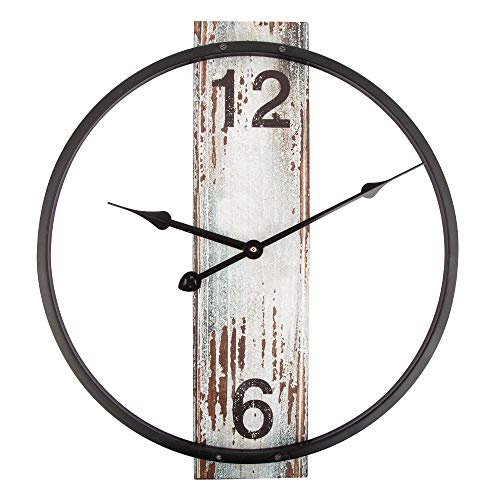 SkyNature Metal Wall Clock,Vintage Clock with Simple Creative Design,Silent Non-Ticking Battery Operated Clock for Home, Living Room, Bedroom and Kitchen Decor - 14 Inch White