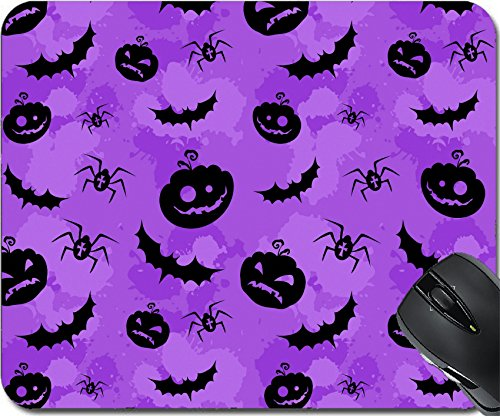 MSD Natural Rubber Mousepad Mouse Pads/Mat design: 15233976 Halloween pumpkins bats and spiders grungy seamless background