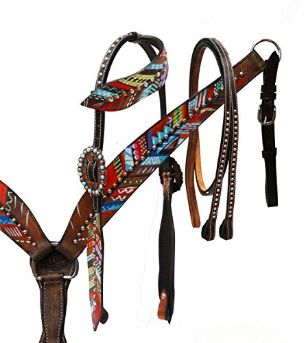 Showman Leather Bridle & Breast Collar Set w/ Painted Feathers