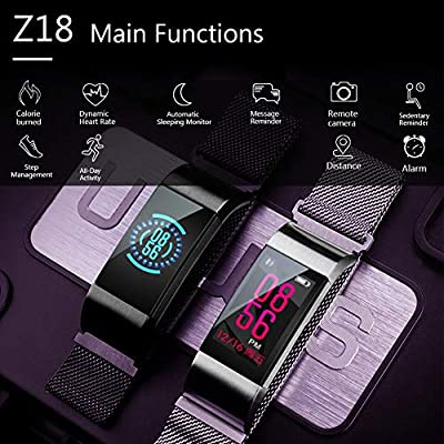 HuaWise Fitness Tracker with Heart Rate Monitor and Sleep Monitor, Metal Band Waterproof Color Screen Fitness Watch Activity Tracker,Step Counter Pedometer and Calorie Counter for Wome Men Kids
