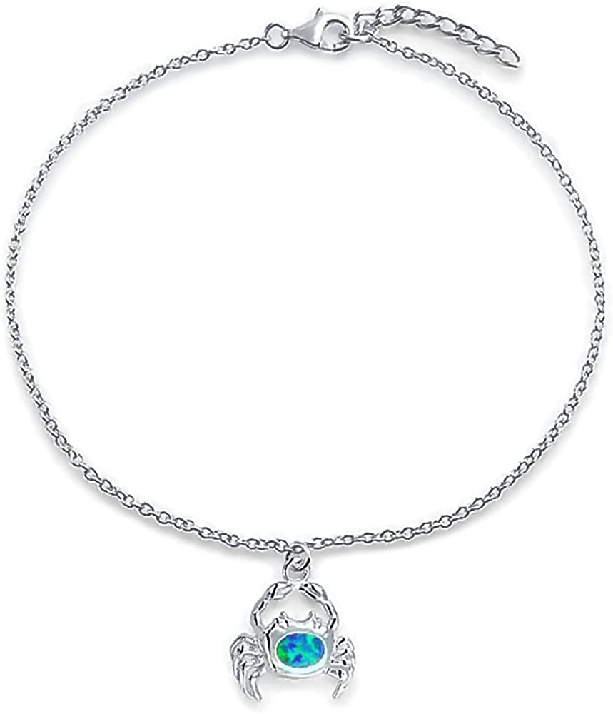 Nautical Beach Crab Created Blue Opal Dangle Charm Anklet Link Ankle Bracelet For Women 925 Sterling Silver 9-10 Inch