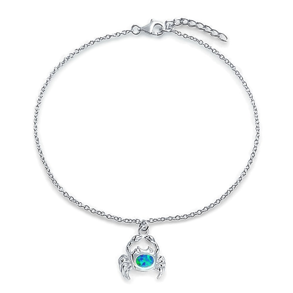 Bling Jewelry Sterling Silver Anklet Synthetic Blue Opal Nautical Crab 9in PFS-33-0595