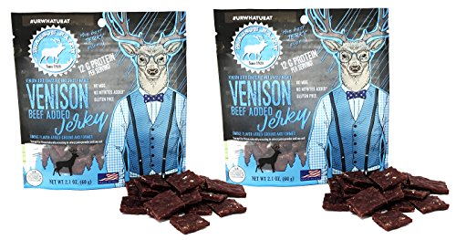 Pearson Ranch 2.1oz Grass Fed Venison Jerky – Pack of 2 – 2.1oz Bags of Bite Size Jerky Pieces – Venison (Made with added Beef) - Gluten-Free, No MSG, Paleo and Keto Friendly