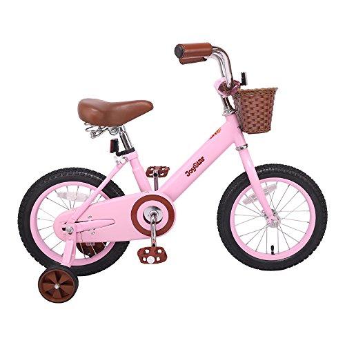 JOYSTAR 14 Inch Classic Kids Bike for 4-6 Year Girls, Kids Bike with Front Basket, Coaster Brakes (85% Assembled), Pink by JOYSTAR