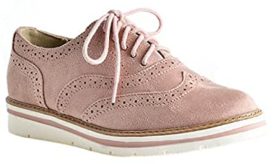 LUSTHAVE Women's Tinsley Lace Up Platform Brogue Trim Oxford Flats Sneakers Loafers Pink Size: 5.5