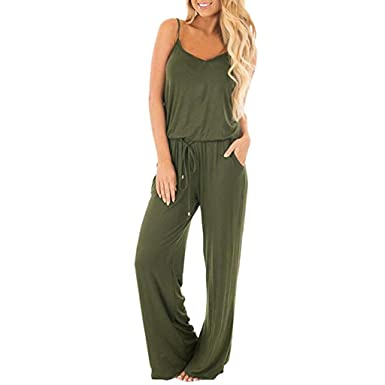 25051c8a0 Amazon.com: Womens Jumpsuit - Summer Solid Sleeveless Wide Leg Jumpsuit  Casual Spaghetti Strap Stretchy Long Pant Rompers Bodysuit: Beauty