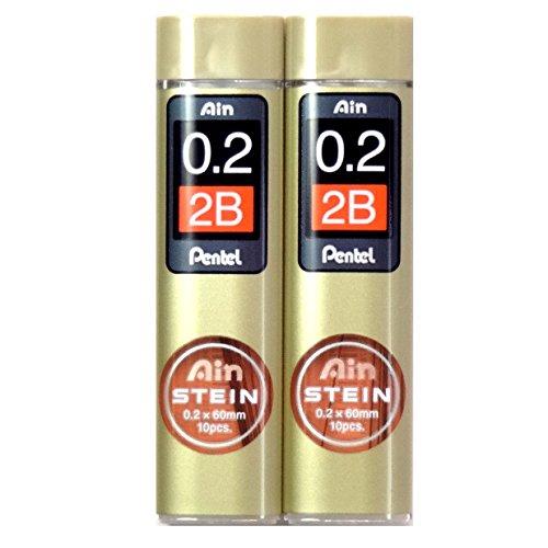 Pentel Ain Pencil Leads 0.2mm 2B, 10 Leads X 2 Pack/total 20 Leads (Japan Import) [Komainu-Dou Original Packege]