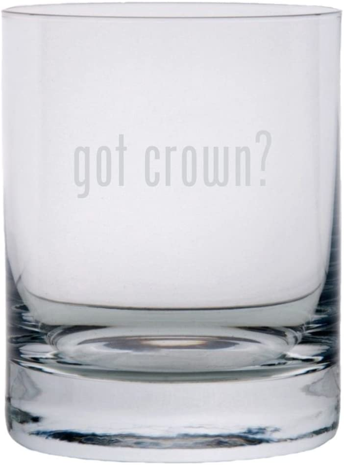 got crown? Etched 11oz Stolzle New York Crystal Rocks Glass