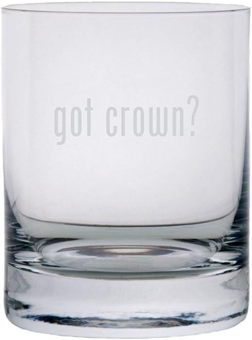got crown? Etched 11oz Stolzle New York Crystal Rocks Glass