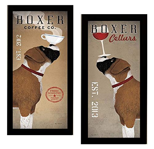 Boxer Coffee Co and Boxer Cellars by Ryan Fowler Framed 2 Picture Set Wine Coffee Dogs 11x23 Finished Size ()