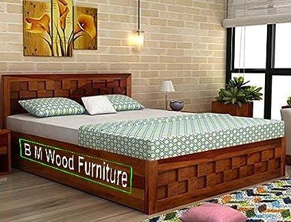 BM WOOD FURNITURE Sheesham Wood King Size Wooden Storage Bed Checkered  Design Honey Teak Finish