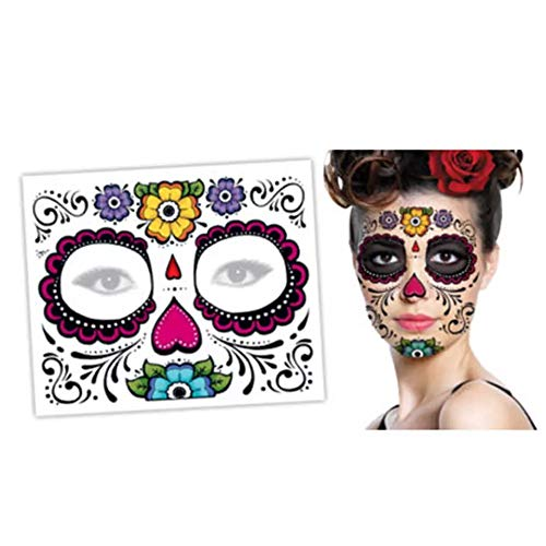 Day of The Dead DIO DE Los Los Muertos Sugar Skull FACE Temporary Tattoo Body Art Metallic Flash Tattoo Body Stickers 3D Body Glam Water Transfer Size Large]()