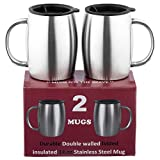 Stainless Steel Coffee Mugs with Lids - SUPERIOR Quality Steel - Double walled Insulated Cups - Set of 2 by Drogo - 14 Oz 18/8 Travel Mug - Healthy BPA Free mugs for Coffee tea Beer beverage drinks