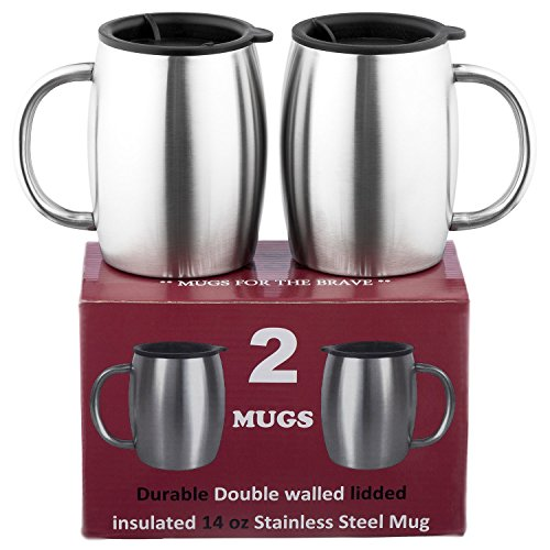 Stainless Steel Coffee Mugs with Lids - SUPERIOR Quality Steel - Double walled Insulated Cups - Set of 2 by Drogo - 14 Oz 18/8 Travel Mug - Healthy BPA Free mugs for Coffee tea Beer beverage drinks (Clean Stainless Steel Mug)