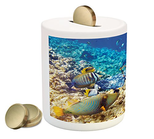 Cheap  Ambesonne Fish Piggy Bank, Barrier Reefs Covered Sea with Lagoon and Zebrafish..