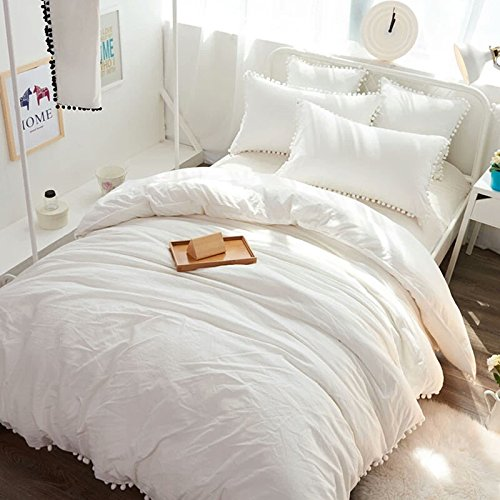 Meaning4 Pom poms Fringe Ivory Duvet Cover Off White Cotton Twin Size 68 x 90inches by Meaning4 (Image #5)
