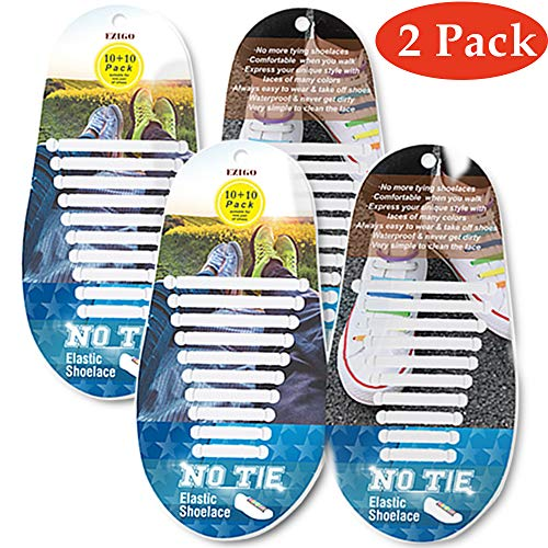 (EZIGO Upgraded No Tie Shoelaces Widened Elastic Shoelaces for Adults/Kids Tieless Shoe Laces Waterproof Rubber Shoelaces for Sneakers Boots Board Shoes Casual Shoes [10+10 laces] Wide (a. White+White))
