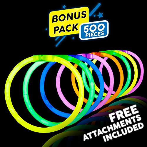 Lumistick 8 Inch 500 Pack Glow Sticks - Bendable Glow Sticks with Necklace and Bracelet Connectors - Glowstick Bundle Party Bracelets Best for Parties, Events and Holidays (Assorted, -