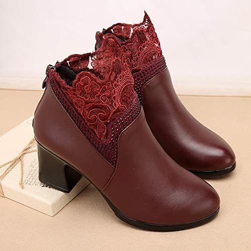 Shukun Bottes Bottes des épaissie mères Bottes d'hiver des Femmes épaisses avec épaissie des avec des Bottes Martin Chaussures pour Femmes Chaussures en Coton Chaussures d'âge Moyen 35|Wine red A 4a7f8d