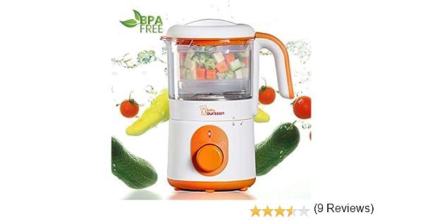 Oursson Procesador de alimentos para bebés 3 en 1, Cocción al vapor y batidora, 500 Vatios de potencia, Color naranja, BL1050HT/OR: Amazon.es: Hogar