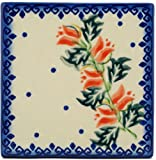 Polish Pottery Tile 4-inch California Poppies