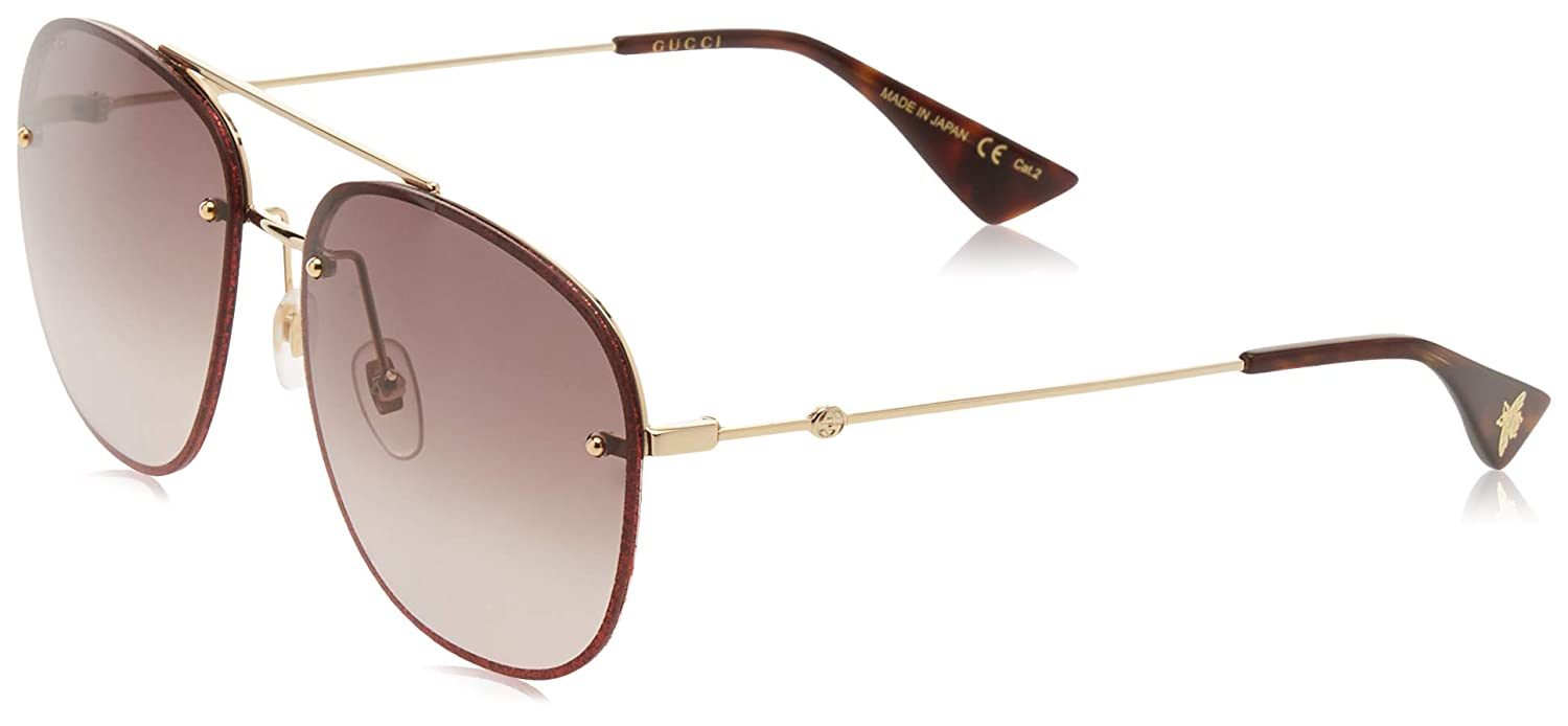 84a940e9756 Amazon.com  Gucci sunglasses (GG-0227-S 003) Glitter Red - Gold - Brown  grey black Gradient lenses  Clothing