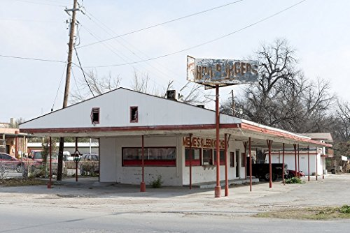 Photograph | The remnants of Meme's Kleen Kitchen, a defunct hamburger joint in Del Rio, Texas| Fine Art Photo Reporduction 66in x 44in