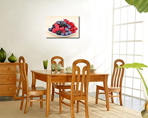 Closeup of Assortment of Sweet Berries on White Plate Wall Decor