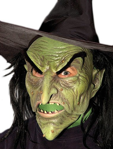 Zagone Ultimate WitchMask, Green Female Witch face with Hat