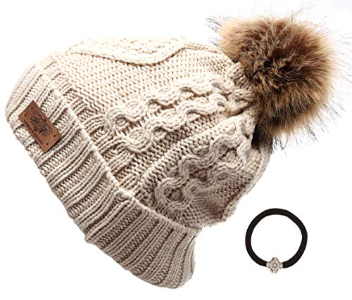 Women's Winter Fleece Lined Cable Knitted Pom Pom Beanie Hat with Hair Tie.(Khaki)